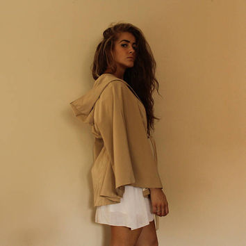 Vintage Hooded Rain Poncho Beige Belted Cape