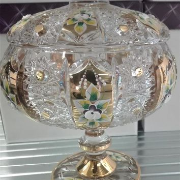 Czech bohemia crystal glass - Cut dosa 21cm decorated gold