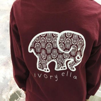 DCCKSP2 2016 Trending Fashion Red Ivory Ella Cartoon Elephant Long Sleeve Round Necked Top Shirt T-Shirt