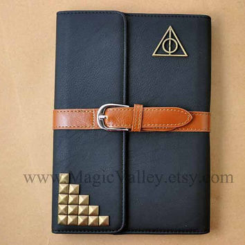 Two Color Choice, Leather iPad mini Case, iPad mini Cover, Harry Potter Deathly Hallows iPad case with bronze studs, Ipad Mini Book