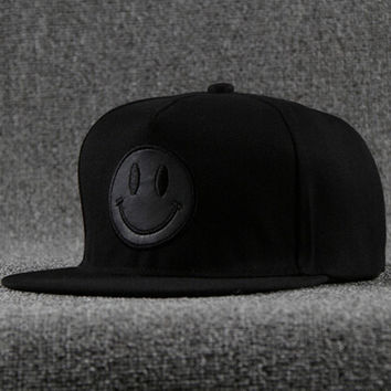 Embroidery Black Cap Smile Face Hat