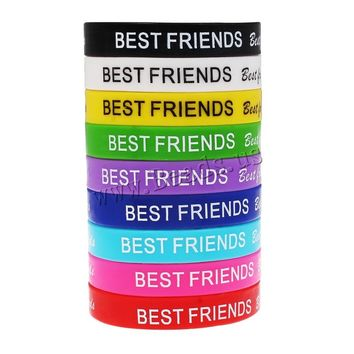 10 Pcs Mix Color Unisex Turret Games Silicone Word Customzied Best Friend Bracelets Bangles Rubber Flexible Friendship Wristband