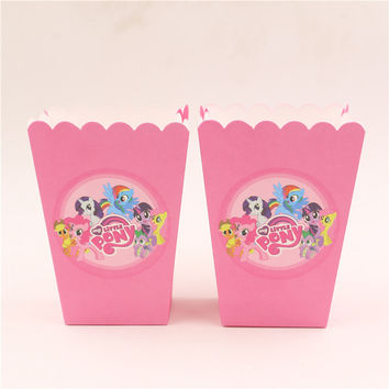 6pcs/lot paper popcorn box/cup my little pony theme party decoration for baby happy birthday party supplies favor baby shower