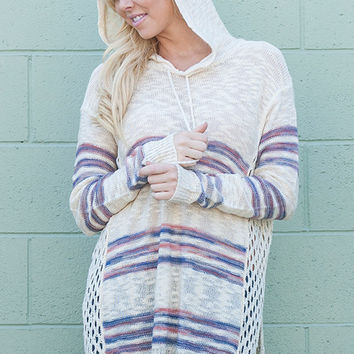 Ivory Striped Hooded Sweater Top