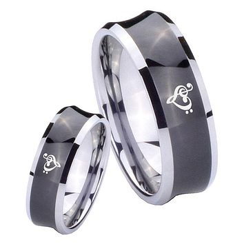 His Her Black Concave Music & Heart Two Tone Tungsten Wedding Rings Set