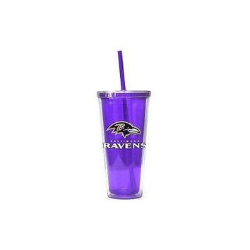 NFL Baltimore Ravens 22 oz Color Double Wall Acrylic Travel Tumbler Cup