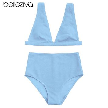 Belleziva 2018 Women High Waisted Textured Plunge Bikini Set Deep V Sexy Backless Solid Bikini Swimsuit Swimwear Beach Wear