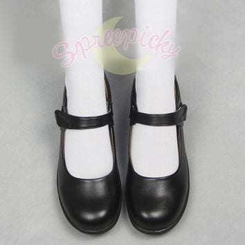 Cosplay/ Lolita Round Toe Matt Black PU Leather School Uniform Shoes Free Ship SP141358 from SpreePicky