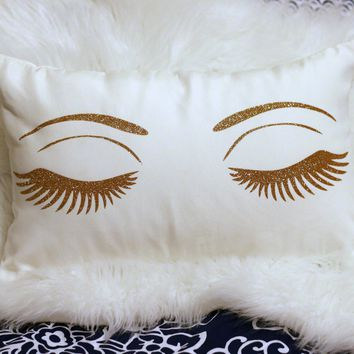 Luxe Gold and White Lashes Throw Pillow