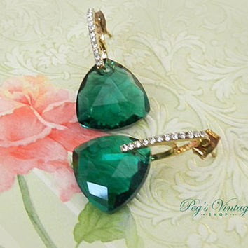 Vintage Emerald Green Swarovski Crystal Earrings, Green Crystal Pierced Earrings, Gold Rhinestone Dangle Hoop Earrings
