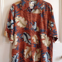Banana Cabana Hawaiian Shirt Mens Size XL 100% Silk Short Sleeve Button Front