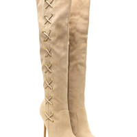Corsets On Pointy Faux Suede Boots GoJane.com
