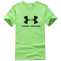 Under Armour New fashion bust letter print couple top t-shirt Green