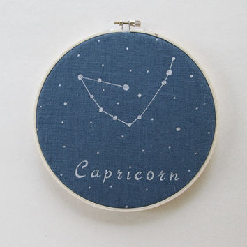 Embroidery  Hoop Art , Zodiac Constellation, Capricorn, Hand painted, Astrology, Constellations