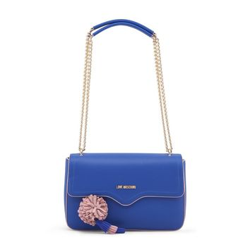 Love Moschino Blue Magnetic Leather Shoulder Bag