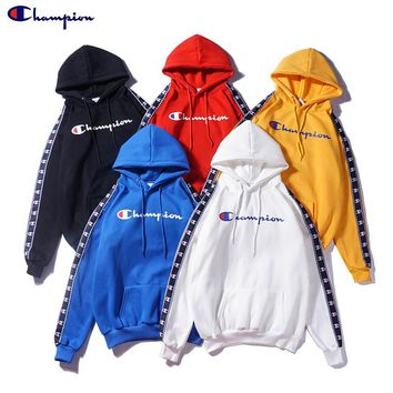 Champion Hooded Round Neck Long Sleeve Sweater