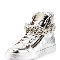 Men's Metallic Chain & Zipper High-Top Sneaker, Silver - Giuseppe Zanotti