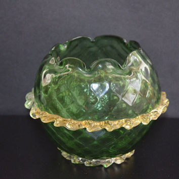 Victorian Glass / Rose Bowl / Applied Rigaree / Art Glass Bowl / Vintage Bowl