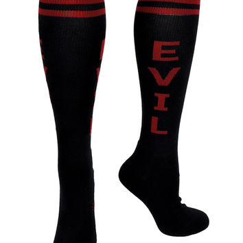 Red and Black Evil Knee Socks Occult Gift Clothing