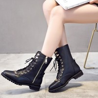 Buckle And Zipper Accent Combat Lace Up Boots