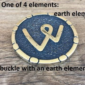 Earth element, elemental buckle, elements buckle, 4 elements, four elements, elemental symbols, elemental charm, mens gift dad, belt buckle
