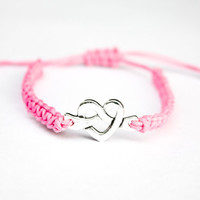 Knotted Heart Bracelet Pink Hemp Friendship