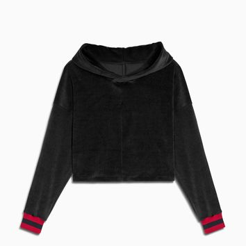 crop velour varsity hoodie / black + red