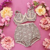 50% off DELICATE FEELING - pale beige lace and lycra lingerie set - ready to ship