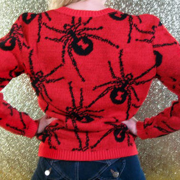 Rare Vintage 80s Spider Black Widow Knit Sweater - Betsey Johnson Punk Label - red black