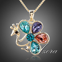 AZORA Multicolor Peacock 18K Real Gold Plated Water Drop Stellux Austrian Crystal Pendant Necklace TN0107
