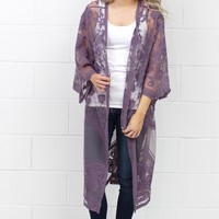 Crochet Lace Midi Duster Cardigan {Dusty Purple}