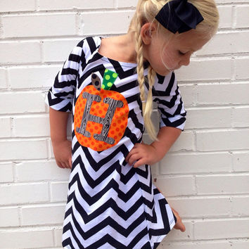 sweet sprouts girls fall pumpkin chevron tshirt dress