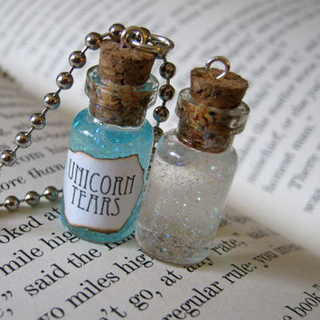 Unicorn Tears 1ml Glass Bottle Necklace - Cork Glass Vial Pendant Charm - Cute Unicorns Magic
