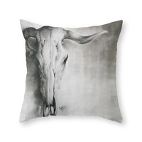 Society6 Ram Skull Throw Pillow