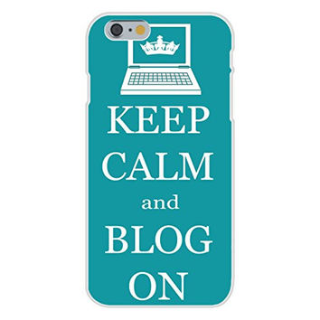 Apple iPhone 6 Custom Case White Plastic Snap On - Keep Calm and Blog On Laptop Computer w/ Crown