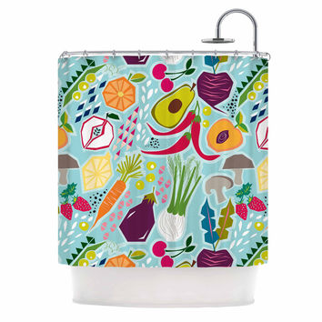 "Agnes Schugardt ""Garden Song"" Blue Food Shower Curtain"