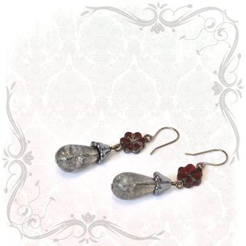 Crackling Cloud Grey and Crimson Earrings