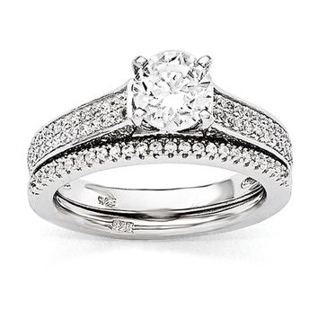 Sterling Silver CZ Brilliant Embers 2-Piece Wedding Set
