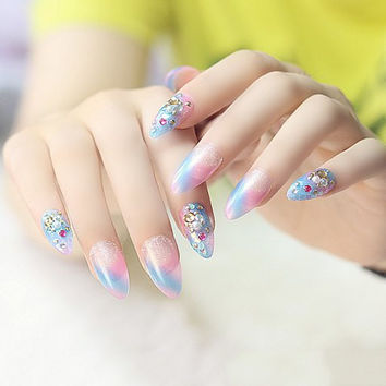 24 PCS Blue and Pink Nail Art with Faux Gem