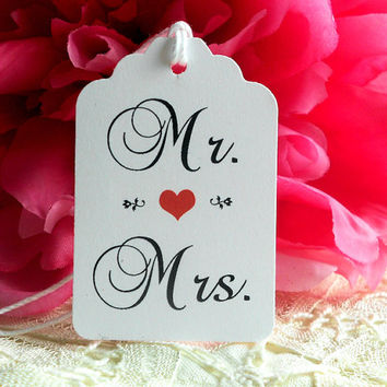 Wedding Gift Tags Wish Tree Mr and Mrs Red Heart Love Romance Hang Tags Party Favors Decoration