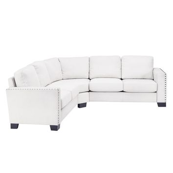 Torrington Linen Nailhead Track Arm Rounded L-Shaped Configurable Sectional by iNSPIRE Q Classic | Overstock.com Shopping - The Best Deals on Sectional Sofas
