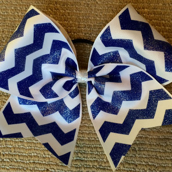 Practice Cheer Bow - Glitter Blue and White Chevron