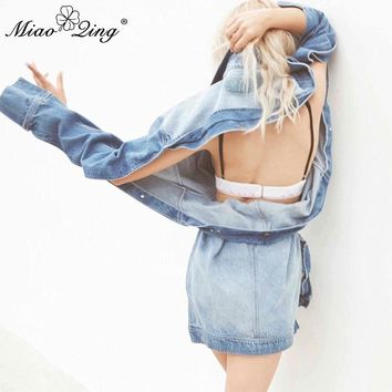 MIAOQING Autumn Winter Women Hole Denim Jackets befree Coat 2018 Sexy Asymmetric Sexy Backless Casual Harajuku Oversize Clothes