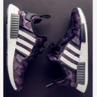 """Adidas"" Women Men Trending NMD Running Sports Shoes Camouflage purple"