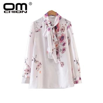 OMCHION 2017 New Women Stand Blouse Floral Print Long Sleeve Shirts Fashion Loose Ink Painting Lacing Top BJ42