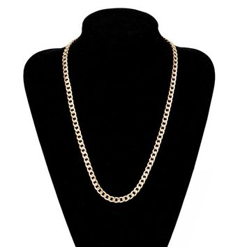 Vintage Long Gold Color Chain Necklace Shellhard Hip Hop Necklaces For Men Party Jewelry Colar Collier 18-36inch