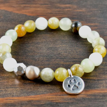 Flower Jade Bracelet. Paw Print Bracelet. Animal Lovers Bracelet. Women's Beaded Bracelet. Women's Christmas Gift. Lotus and Lava Bracelet.