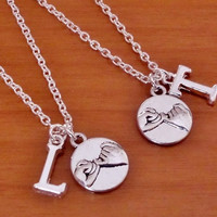 2 Pinky Promise NecklaceS, Initial letter name charm, Sister, Best Friend, Boyfriend Girlfriend Gift, Christmas Gift