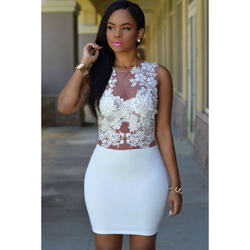 Party Dress White Floral Mini Lace One Piece Dress = 4804187844