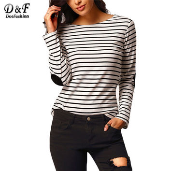 Women's Tops Fashionable Spring Ladies Street Casual Simple Tees Elbow Patch Long Sleeve Round Neck Striped T-Shirt